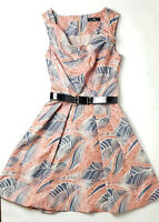 Cue Sleeveless Pink Patten Dress Size 6 with Belt