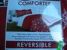 Down Alternative reversible Red Twin/Twin XL comforter w/ white Snowflakes
