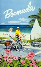 Vintage Illustrated Travel Poster CANVAS PRINT Bermuda Bicycles A3