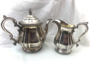 Gorham Silver 2-1/2 Pint Coffee Pot 7/8 Pint Creamer Pitcher