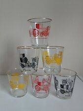 Set of 6 Retro Whisky Glasses/Tumblers with Vintage French Car Designs