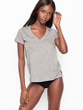 Victoria Secrets Women's V Neck T-Shirt In Stone Grey
