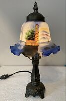 """13"""" Table or Accent Lamp REVERSE PAINTED Glass Shade Nautical Beach Lighthouse"""