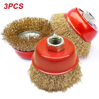 Rotary Steel  Brush Crimp Bevel Wheel Cup Twist Angle Grinder  65mm 3Pcs UK