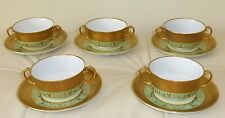 ANTIQUE H&C SELB BAVARIA HEINRICH &CO GOLD GILDED SOUP CREAM CUPS