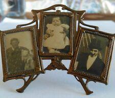 Vintage Antique Brass Miniature Triple Photo / Picture Frame
