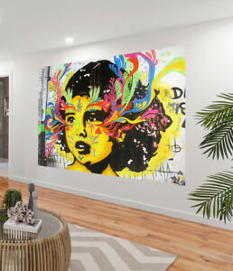 Huge Graffiti Street Art Girl Face  Print Large Canvas Painting Australia