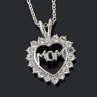 Silver Tone Crystal Heart Charm Chain Pendant Necklace Mother's Day Gift For Mom