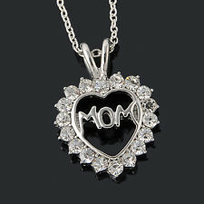 """Attractive """"Mom"""" Charm Silver Crystal Heart Pendant Necklaces Love Mother's Day"""