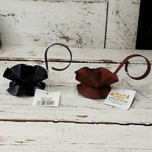 BLACK & RUST Taper Candle HOLDERS Flower Shaped with Handle Metal Primitive PAIR