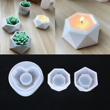 Plant Flower Pot Silicone Mold Epoxy Resin Candle Holder Mould DIY T FH
