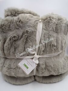 """Pottery Barn Faux Fur Ruched Plush Gray Throw Blanket Soft 50x 60"""" #9192"""