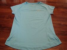 Under Armour Heat Gear Women's Turquoise Athletic Running Shirt Top Large