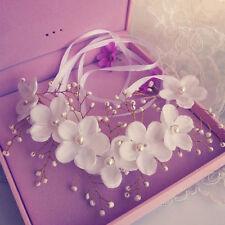 Pearl Flower Crystal Headband Clip Hair Band Tiara For Wedding Bridal 25*11CM@