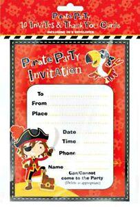 10 boys PIRATE PARTY INVITES + 10 THANK YOU CARDS + envelopes birthday CHILDREN