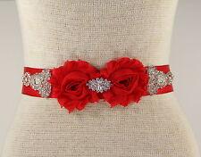 Red Bridal Sash, Wedding Dress Sash, Bridal Belt, Rhinestone Wedding Sash