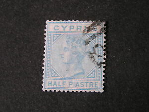 CYPRUS, SCOTT # 11, 1/2pi. VALUE EMERALD GREEN 1881 QV ISSUE USED