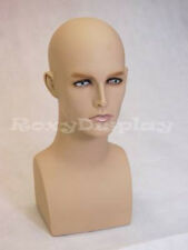 Male Fiberglass Mannequin Egg Head Bust Wig Hat Jewelry Display #MD-ERAF2