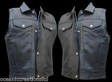 Cut Off Full Real Leather Motorcycle Motorbike Trucker Western Waistcoat Vest