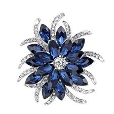 Lage Silver Sapphire Flower Bouquet Blue Brooches Pin Wedding Bridesmaid Jewelry