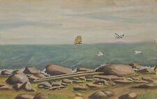 """""""Paesaggio costiero con Nave a vela principale nella Distante""""Aqua/mescola."""