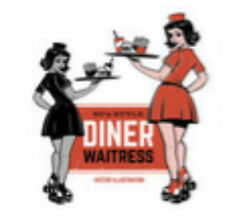 postal charge 50's retro waitress sticker and file purchase