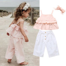 Summer Kids Baby Girls Clothes Crop Tops Shirt+Long Pants+Headband Outfits Set