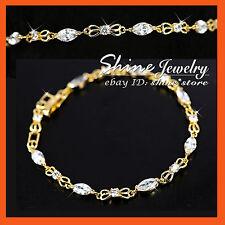 14K GOLD GF BR81 DIAMOND CRYSTAL BRIDAL SOLID BANGLE BRACELET WOMEN XMAS GIFT