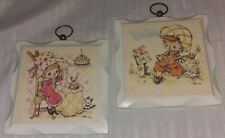 Lot of 2 Vintage Homco Wooden Wall Plaques Retro Wall Decor Nursery/Childs Room