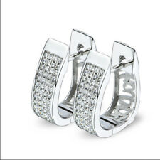 Earring Creole Halbkreolen Made of Sterling Silver 925 and White Zirconia