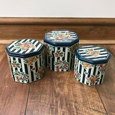 Vintage Blue & Cream Striped Fruits Three Nesting Storage Tins Set (Coffee, Tea)