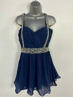 BNWT WOMENS BOOHOO NAVY EMBELLISHED RUCHED SHORT PROM PARTY OCCASION DRESS UK 14