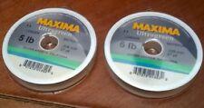 NEW MAXIMA ULTRAGREEN LEADER MATERIAL 2 - 27YD SPOOLS 5 & 6 LBS fly fishing