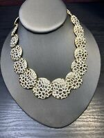 """Vintage Wide Gold White Z x Heavy Nice Quality Chunky  Flat Link Necklace 17"""""""