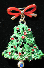 """VINTAGE CHRISTMAS TREE HOLLY BERRY BELL BOW PIN BROOCH JEWELRY 2 1/4"""" DANGLES"""