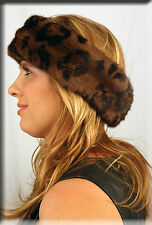 New Leopard Print Mink Fur Headband 26 Inches Long 5 Inches Wide - Efurs4less