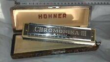 Harmonica chromatique professionnel Hohner 16 trous 20 em, dans coffret bois