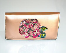 Portefeuille or rose pochette femme porte-monnaie clutch sac à main paillette G2