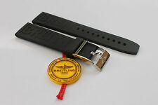 100% Genuine New Breitling OEM Black Diver Pro 3 Caoutchouc Rubber Strap 22-20mm