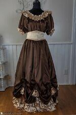 Western Showgirl Gown Brown Tan Satin, Victorian, Theater, Reenactment