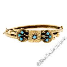 Vintage Etruscan Revival 14K Gold Persian Turquoise Textured Bow Bangle Bracelet