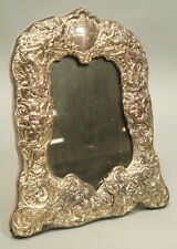 Estate Sterling Silver English Repousse Putti Cherubs Heart Floral Picture Frame