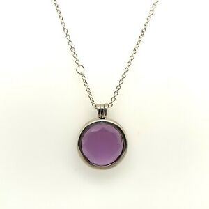 Authentic Pandora Silver Faceted Synthetic Amethyst Locket Necklace