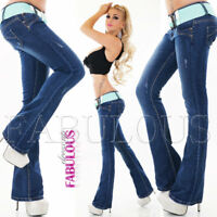 New Slimming Boot Cut Leg Jeans For Women Stretch Size 6 8 10 12 14 XS S M L XL