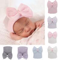 Newborn Toddler Baby Infant Girl Stripe Big Bowknot Knitted Cap Warm Beanie Hat^