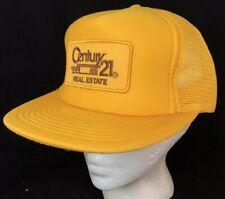 Vtg Century 21 Real Estate Mesh Trucker Hat Realtor SnapBack Big Patch Logo Cap