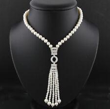 Halskette im Art-Deko-Stil weiße Süßwasser-Zuchtperlen Wert 1150 € Neu