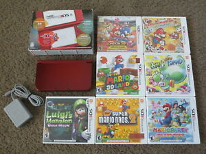 Nintendo New 3DS XL Handheld System Red + 7 Mario Games bundle lot console