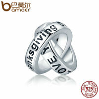BAMOER Solid S925 Sterling silver charm grateful to you with CZ For bracelets