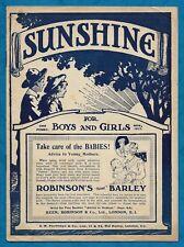 """NOV 1917 """"SUNSHINE"""" MAGAZINE / PAPER FOR BOYS & GIRLS STORIES ETC"""